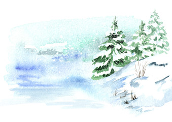 Winter background,  landscape with snowfall. Watercolor hand drawn illustration