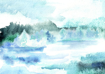 Winter background. Watercolor hand drawn illustration