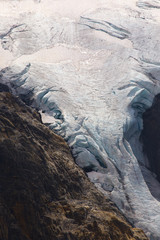 Detailed view of a glacier in the shape of an elephant´s trunk