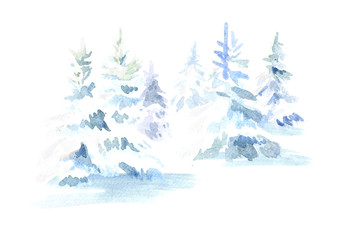 Winter forest. Christmas fir tree with snow. Watercolor hand drawn illustration, isolated on white background