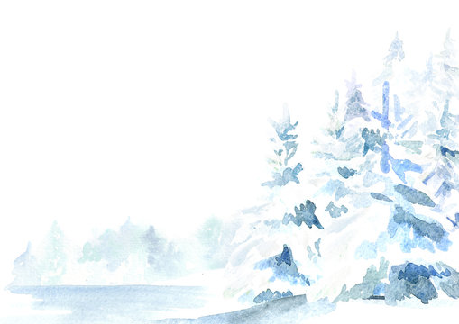 Winter forest background. Watercolor hand drawn illustration