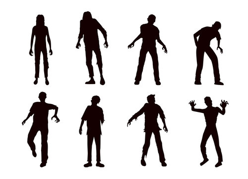 Vector zombie collection in silhouette style. Full body many action in front view.