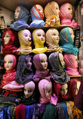 Mannequins displaying hijabs are pictured at a shop in Mumbai