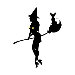 Black silhouette of witch in hat, halloween. Sorceress with long hair and black cat standing with broom. Young woman in carnival costume. Vector illustration.