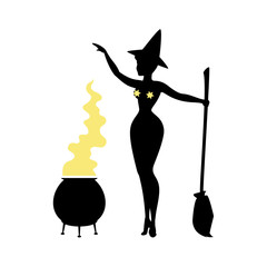 Black silhouette of witch in hat, halloween. Sorceress standing with broom and preparing potion. Young woman in carnival costume. Vector illustration.