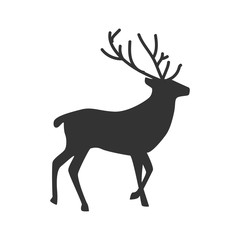 Deer. Silhouette isolated on white background. Icon. For your design