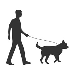 Dog. Stroll. Silhouette isolated on white background. Icon. For your design