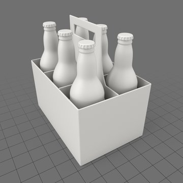 Six-pack of beer bottles