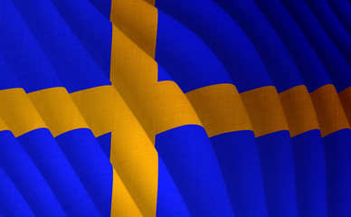 Illustration of a flying Swedish flag