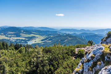 View from summit of mountain Hochlantsch to Teichalm and Sommeralm