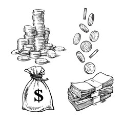 Finance, money set. Sketch of stack of coins, paper money, sack of dollars falling coins in different positions. Black and white hand drawn vector illustration. Vector