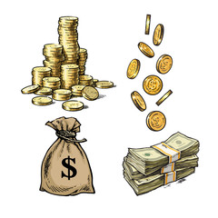 Finance, money set. Sketch of stack of coins, paper money, sack of dollars falling gold coins in different positions. Hand drawn vector.