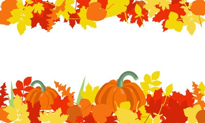 Autumn leaves and pumpkins border frame with space for text. Seasonal floral maple orange leaves with gourds for thanksgiving holiday, harvest decoration vector design.
