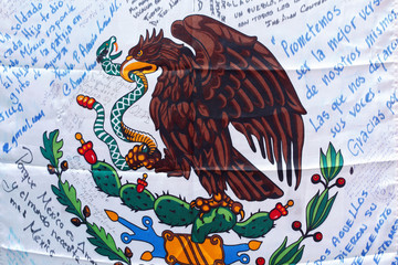 Support messages are seen on Mexican flag in Mexico City