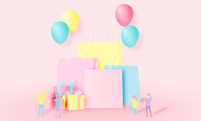Shopping bag and present box in paper art style and pastel scheme