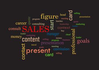 Sales. Collage of words black background Vector illustration