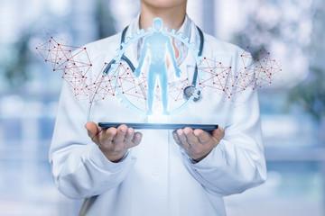 Doctor shows virtual hologram human .