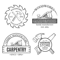 Carpentry works line art set with logo