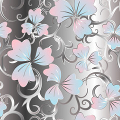 Floral seamless pattern, blue pink flowers on silver background