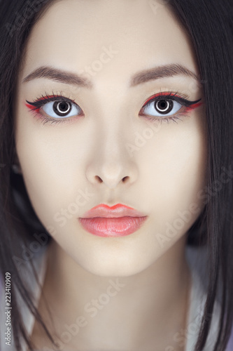 Asian Beauty Woman Skin Care Close Up Beautiful Young With Perfect Face Looking At Camera Isolated On Gray Background Tender Mixed Race
