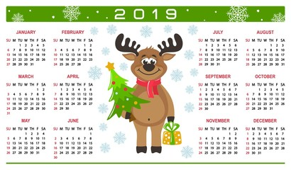 Colorful horizontal calendar 2019 with a happy reindeer. Cartoon character, christmas tree, gift box, snowflakes on a white background. Week starts on Sunday. Basic grid. Flat style. Vector image.