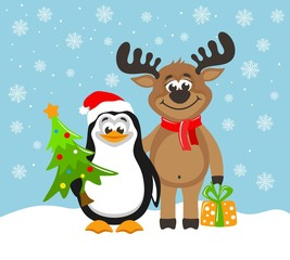 Cute penguin in a Santa Claus hat and funny reindeer. Greeting card for Christmas or New Year on a blue background. Cartoon character with christmas tree and gift box. Flat style. Vector illustration.