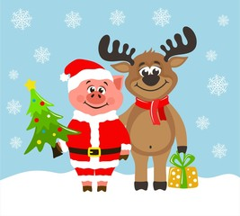 Pig in Santa Claus costume and funny reindeer. Greeting card for Christmas or New Year on a blue background. Cartoon characters with christmas tree and gift box.  Flat style. Vector image for kids.