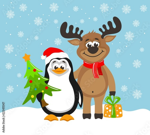 0c0683fbc60d7 Cute penguin in a Santa Claus hat and funny reindeer. Greeting card for  Christmas or New Year on a blue background. Cartoon character with christmas  tree ...