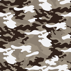 Camouflage seamless pattern, classic style. Vector background.
