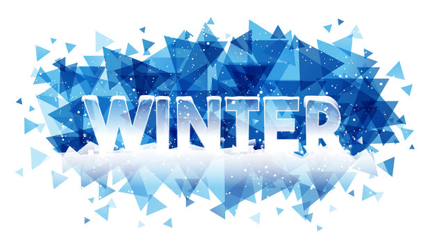 Winter word on ice background. Creative banner card
