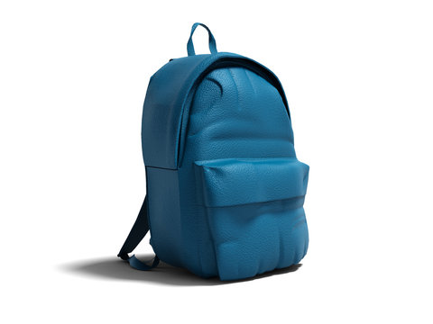 Modern blue leather backpack in school for children and teens right view 3D render on white background with shadow