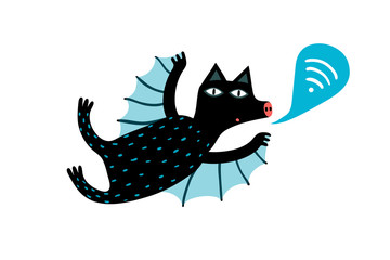 Flying cute sending wifi sign bat animal.