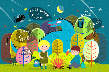 Magic forest kids camping at night with fairy tale animals.