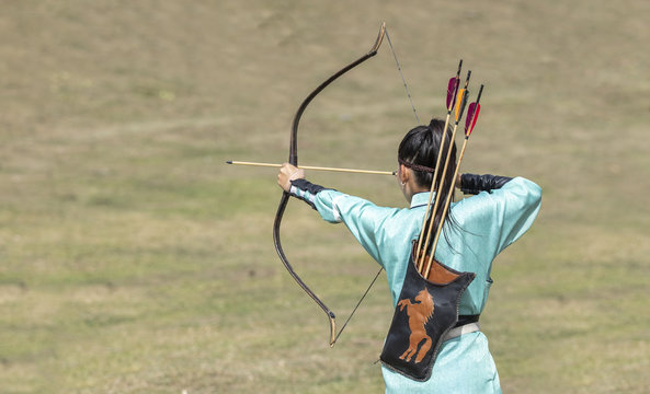 mongolian women practicing archery skills