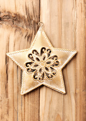 Christmas Star. Christmas time. Rustic wooden background. Top view. Copy space.