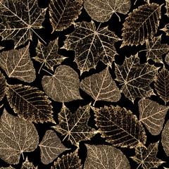 Transparent gold skeleton leaves seamless pattern
