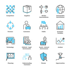 Marketing environment icon collection set. Ad strategy vector illustration.
