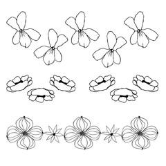 Lines of flowers, liner  illustration on white