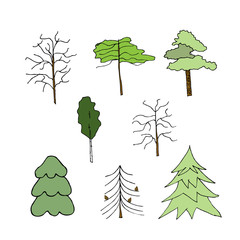 Icon trees. Liner  illustration on white background