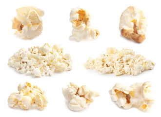 Set with delicious popcorn on white background
