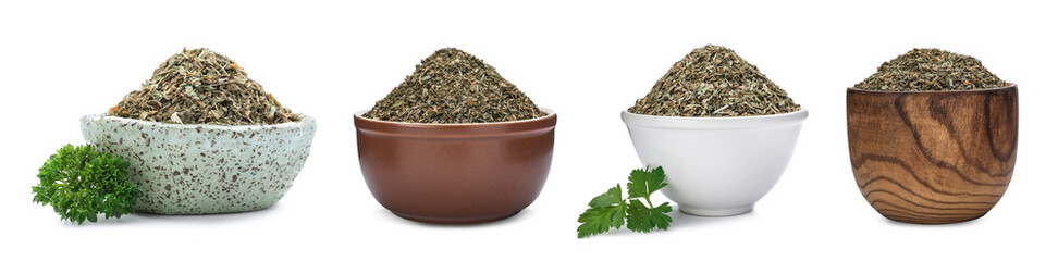 Set of bowls with dried parsley on white background