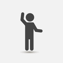 Hands waving gesture silhouette of man. Vector icon gesture.Layers grouped for easy editing illustration. For your design.