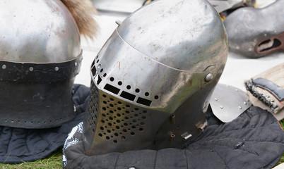 Medieval warrior's steel helmet with a visor