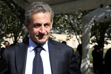 Former French President Nicolas Sarkozy attends the national ceremony to pay tribute to the victims of militant attacks, in Paris