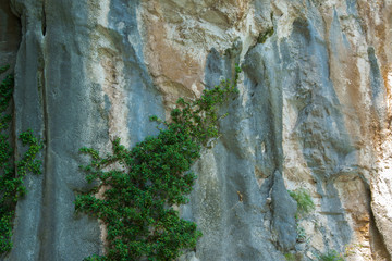 Natural background of solid rough stone wall