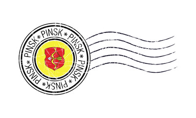 Pinsk city grunge postal rubber stamp