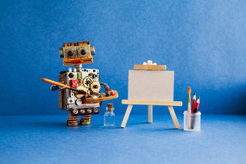 Robot artist with brush paints palette, wooden easel and blank white paper. Advertising poster studio school of visual arts and drawing. Blue background