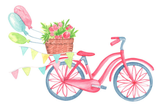 template card cartoon watercolor bicycle with a cute basket with flowers, flags, bubbles isolated on white background