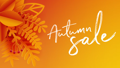 Autumn poster background with leaves and text, vector illustration