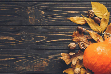 Happy Thanksgiving concept, flat lay. Beautiful Pumpkin with bright autumn leaves, acorns, nuts on wooden rustic table. Space for text. Fall season greeting card. Atmospheric image